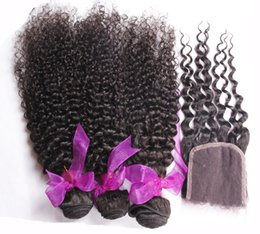 Wholesale Supply brazilian hair kinky curly hair weave hair bundles with lace closure piece free part lace closure with bundles hair wefts