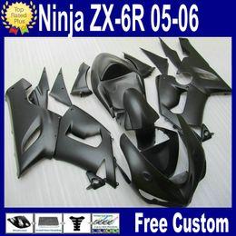 HOT SALE! Matte Black Bodywork fairing kit for Kawasaki ZX6R fairings 2005 2006 Ninja 636 ZX-6R 05 06 Plastic parts