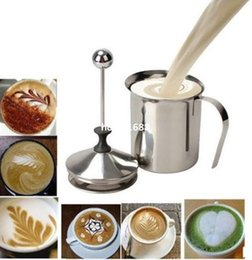 Wholesale 400mL Milk Coffee Frother Cappuccino Stainless Steel Milk Creamer Foam Double Froth Pump tool