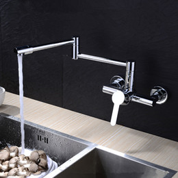 Wholesale 2015 Solid Brass Extended Hot and Cold Pot Filler Faucet Swing Spout Wall Mount Kitchen Sink Mixer Polished Chrome
