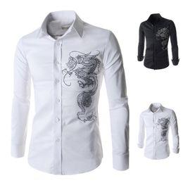 2015 foreign trade new men's shirts long hot drilling Slim male Korean men's shirts wholesale