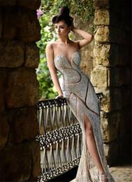 Wholesale 2015 Collection Rami Salamoun Prom Dresses Luxury Jewellery Rhinestone Backless Party Dress Corset Sheath Floor Length Celebrity Dress