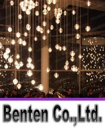 Promotion pendeloques de cristal G4 LED Boule de verre en verre de suspension Meteor Rain Plafond Meteoric douche Escalier Droplight Lustre Éclairage AC 110 LLFA4797F