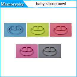 Wholesale Ezpz Toddler Kids Baby Feeding Set Lid Training Bowl with Spoon Binaural Baby Tableware Sucker Bowl in stock without logo
