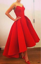 2015 New Arrival Satin Red Prom Dresses High Low Sweetheart Backless Ball Gown Elegant Evening dress