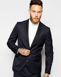 Slim Fit Mens Wedding Suits Two Pieces Navy Groom Tuxedos with Black Lapel Prom Formal Suits Custom Made Best Man Suits (Jacket+Pants+Tie)