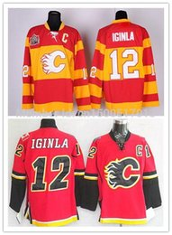 Patch patch bon marché en Ligne-2016 Nouveau, bon marché Calgary Flames Ice Hockey Jerseys # 12 Jarome Iginla Jersey Team Couleur Accueil Red Yellow Couté avec C Patch From China