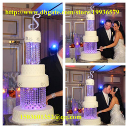Wholesale 2Tier Crystal Chandelier Cake Stand Round or Square quot quot adorned with sparkling acrylic crystals and tear drop pendants