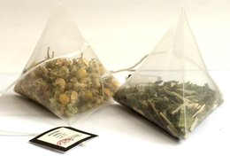 Wholesale cm Pyramid Tea Bags Filters Nylon TeaBag Single String With Label Transparent Empty Tea Bags