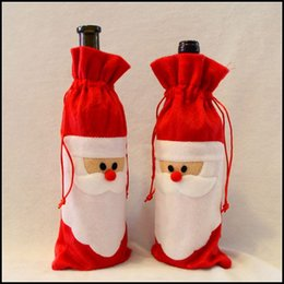 Christmas Wine cover pockets Xmas party Decotation Santa claus red wine cover kids gift drawstring bags J102003# DHL FREESHIP