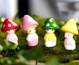 4pcs mushroom garden ornaments fairy garden miniatures home decoracion jardin mushroom figurines for garden