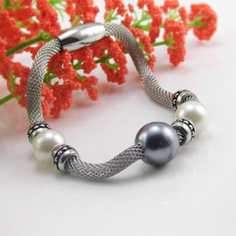 Best Gift For Mother Magnet Stainless Steel White Pearl Ball Charms Bracelet Cable Wire Cuff Bangle