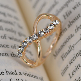 No Mini order Charm women Fashion Jewelry 8 infinity with crystal rings Golden Size 16mm-19mm