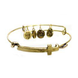 Wholesale Vintage Alex and Ani Charms Wire Bangle Women Silver Color Cross Bracelet
