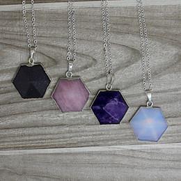 Wholesale Gemstone Point Necklace Amethyst Opal Rose Quartz Blue sand stone Quartz Chakra Pyramid Hexagon Bead Pendant Necklace with silver bails