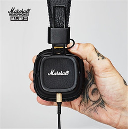 Bruit de microphone en Ligne-Casque authentique Marshall Major II de 2ème génération avec microphone Casque HiFi Hi-Fi Hi-Fi avec amplificateur de bruit Professional DJ Monitor Headphone