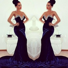 Top Selling 2014 Winter Sweeteart Sequin Evening Dresses Sweep Train Mermaid Prom Dresses Zipper BAck Velvet Navy Blue Prom Dress Plus Size
