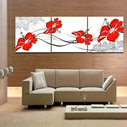 Pink Blooming Flower Red Flower 3 Panels Beautiful Canvas Art Painting Home Office Hotel Wall Decoration