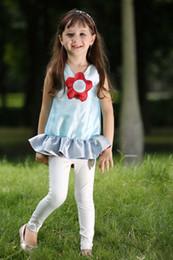 Pettigirl Retail kids summer clothes girls Sets 3D Flower Girls Ruffle Top And Leggings Fashion Kids Designer Clothes CS80630-8