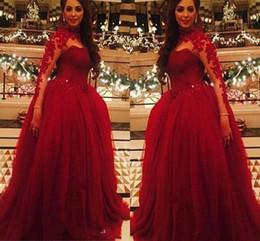 Dark Red Evening Dresses Sheer Neck Vestidos de festa Applique lace Sheer Neck Long Sleeve Prom Gowns 2016 Long party Sexy Dress