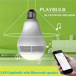 Wholesale 110V V E27 W Color Changable Intelligent Wireless Bluetooth LED Light Bulb Music Speaker Lamp for smartphone iPhone S C iPad air