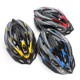 Wholesale-New Hot Sale Fashional Cycling Adult Mens Ultralight Bicycle Helmet Red Yellow Blue Carbon Color With Visor EPS Materials Helmet