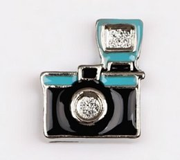 Wholesale Camera Charms Jewelry - Factory Price ! 20PCS Enamel Camera Floating Charms Fit For Glass Living Locket DIY Jewelry Making Holiday Gift