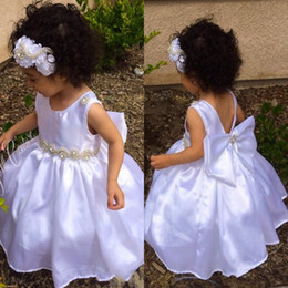 2015 Lovely Princess Flower Girls Dresses Crew Ball Gown Backless Bow Sash Floor Length Fashion Formal Kids Dress Custom made