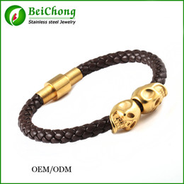 BC Jewelry fashionable single bangle design simple 18k god plated skull cuff bangles real leather skull single bangle designs BC-152