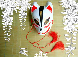 Hand- painted Fox Mask Endulge Japanese Cartoon PVC Mask Full Face Halloween Masquerade Cosplay Party Masks Free Shipping