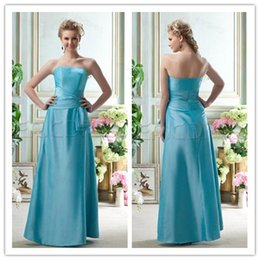 Wholesale Hot Sale A Line Strapless Floor_Length Zipper Blue Draped Bridesmaid Dress Affordable Satin Sleeveless Bridesmaid Dresses WH0923