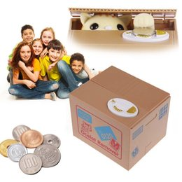 Wholesale Christmas Gift Automated Cute Cat Steal Money Box Coin Bank Piggy Money Saving Box Gifts Digital storage Box for kids children
