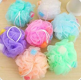 Wholesale 30g athe Bath Brushes Sponges Scrubbers Colorful Soft Body Exfoliate Puff Sponge Mesh Net Ball Body Wash