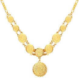 New Beautiful Round Old Coin Pendant Necklace 18K Real Gold Plated Necklace Jewelry For Women MGC N882K