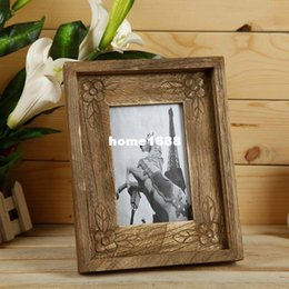 Wholesale 6 inch European retro antique wooden photo frame creative home decoration prop handmade diy props rustic solid wood photo frame