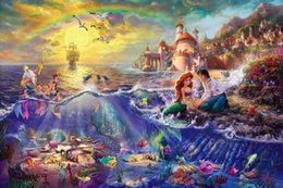 Wholesale The Little Mermaid for Thomas Kinkade Oil Paintings Giclee Art Print On Canvas no frame