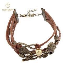 Wholesale Peaceful series charm bracelet exquisite workmanship double owl bracelet novel LOVE letter bracelet infinity bracelet glass pearl bracelet