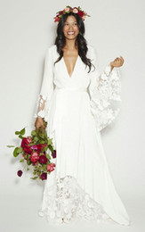 2019 New Arrival! Fashion BOHO Bohemian Beach Hippie Style Wedding Dresses with Long Sleeves Lace Flower Custom Plus Size Bridal Gown Newest