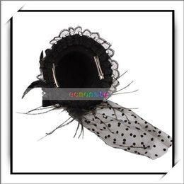 shipping free,Black Feather Lace Hair Clip Mini Top Hat,100% brand new and high quality,16003140