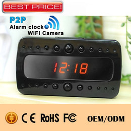 Wholesale 1080P WiFi IP Camera Clock Night Vision Remote Surveillance Camera Full HD Alarm Clock DVR Video Record P2P For Iphone Android Phone T10