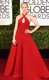 Descuento alfombra roja del hombro fuera 2015 72o Golden Globe Taylor Schilling Vestidos de la alfombra roja Halter Sexy Off hombro caliente Prom Pageant vestido largo rojo una línea de vestidos de noche