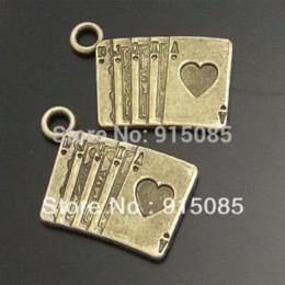Wholesale El estilo antiguo de Whosesale de bronce del tono de la aleación del póker carda el encanto recto de la tarjeta recta del enjuague