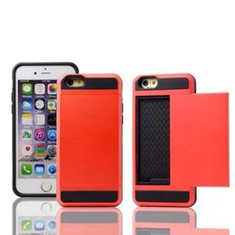Wholesale 2016 new Armor Cases for iphone quot quot Samsung Note4 Card Slider Case with Card Storage Without Retail Package
