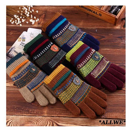 Wholesale-2015 new autumn&winter male's gloves dobby label five fingers men's gloves fashion soft thicken warm male's
