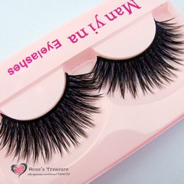 Wholesale yelash news Handmake Fashion Pairs Makeup Thick Long Purple False Eyelashes Soft Fake Eye Lash Beauty Tool F33 eyelash lash