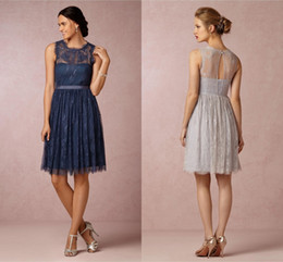 Celia Silver Grey Lace Bridesmaid Dresses Jewel Neckline Sleeveless Knee Length Keyhole Back Navy Blue Short Wedding Part Dress Prom Gowns