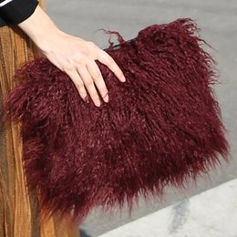 Wholesale 2017 New Women Winter Faux Fur Clutch Bag Designer Handbag Evening Party Bags Autumn Purse Blue Gray