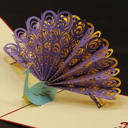 3D Pop Up birthday Wedding party Card Peacock Design Christmas Postcard New Year Greeting Card Handmade free shipping