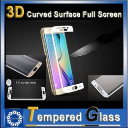 Wholesale Samsung Galaxy S6 Edge D Curved Surface Full Screen Mobile Phone Protection Tempered Glass Film Retail With Package