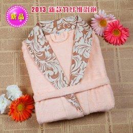 Wholesale Bamboo fibre print bathrobe women s bathoses sleepwear thickening comfortable lounge
